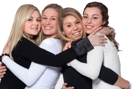 Group of young girlfriends having a happy time together photo