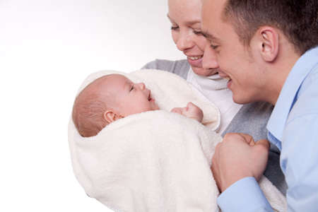 Happy family with their new daughter Stock Photo