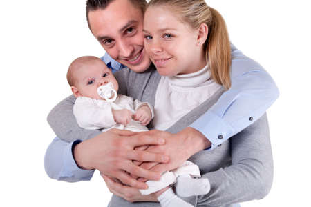 Happy family with their new daughter photo