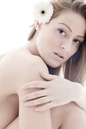nudist: Young beauty woman in a relaxing mood
