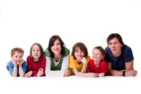 happy family concept: Big young family in a happy colorful mood Stock Photo