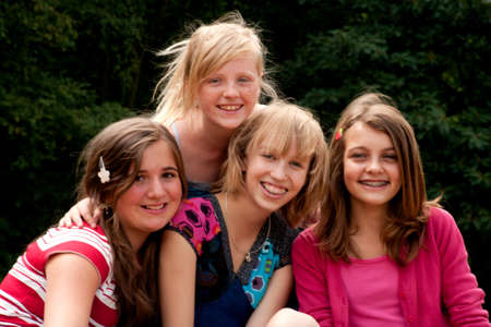 Group of young girls are having fun Stock Photo