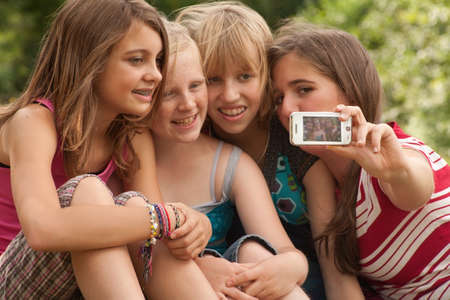 Group of young girls are having fun photo