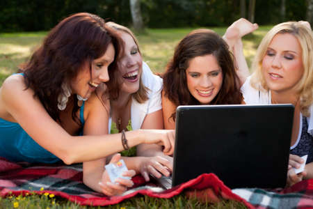 Girlfriends are having fun in the park Stock Photo - 8898537