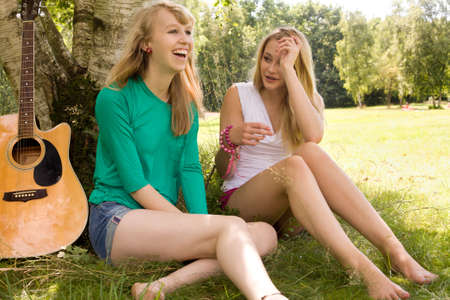 Two girls are having fun in the summer sun Stock Photo - 16638044