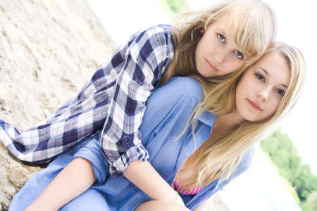 Two girls are having fun in the summer sun Stock Photo - 16669799