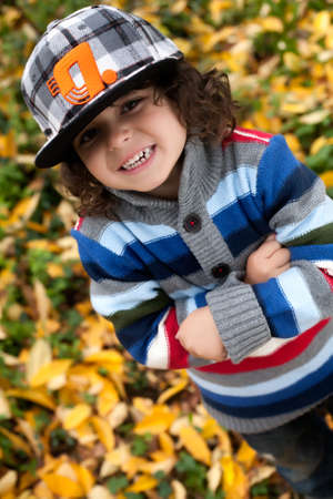 Happy foster children in the forest are having fun Stock Photo - 16972229