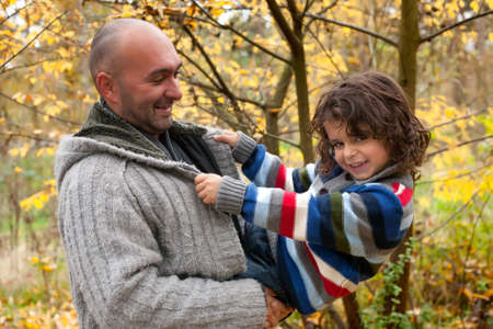 Happy foster children in the forest are having fun Stock Photo - 16972224