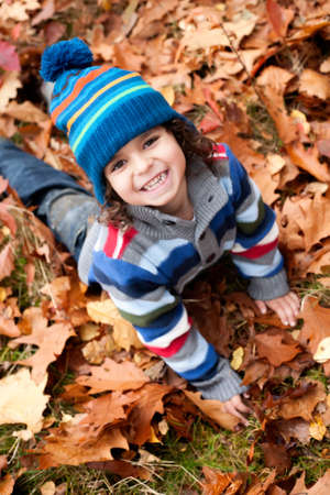 Happy foster children in the forest are having fun Stock Photo - 16972225