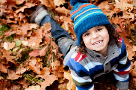Happy foster children in the forest are having fun Stock Photo - 16972222