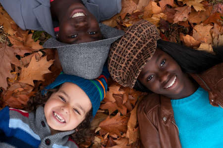 Happy family with foster children in the forest Stock Photo - 16972198
