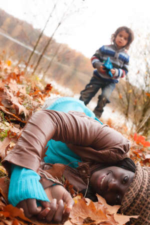Happy foster children in the forest are having fun Stock Photo - 16972219