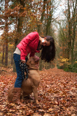 Young woman is having fun with her dog in the forest Stock Photo - 17414217