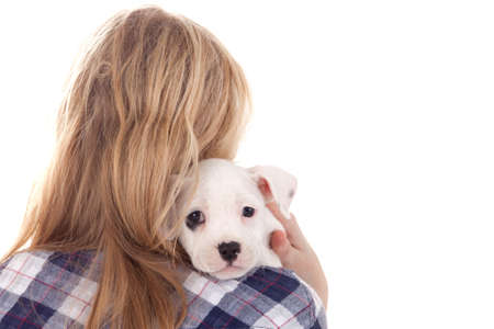 Young girl having a great time with the puppies Stock Photo - 19167313