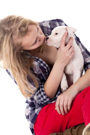 Young girl having a great time with the puppies Stock Photo - 19167334