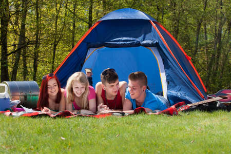Young teenager group are having their holliday on a camping Stock Photo - 19908680
