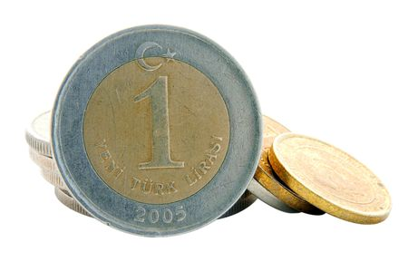 An isolated image of a 1YTL Turkish Lira Coin photo