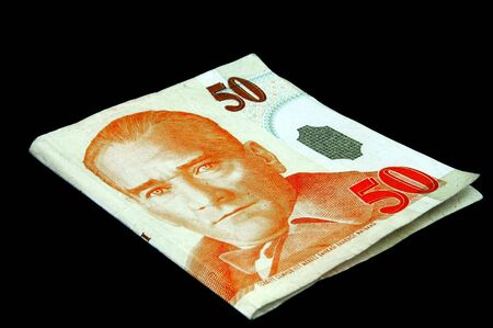 An isolated image of a 50YTL Turkish Lira Note photo