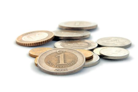 An isolated image of Turkish Lira Coins photo