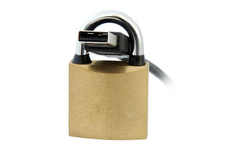 An isolated image of a padlock and USB Cable Stock Photo - 3934308