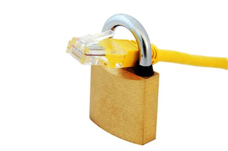 An isolated image of a network cable (RJ45) and a padlock photo
