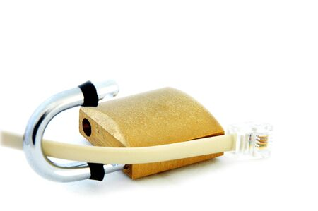 An isolated image of a phone data cable (RJ11), and a padlock Stock Photo - 3934291