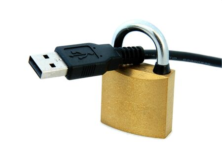 An isolated image of a padlock and USB Cable Stock Photo - 3934323