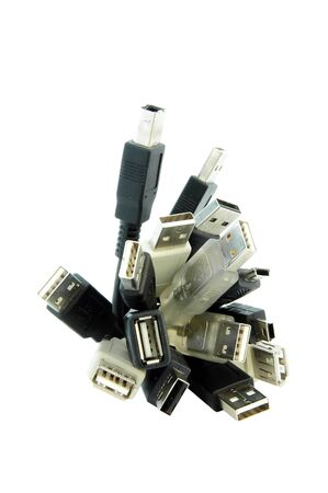 bandwith: An isolated image of a selection of USB Cables