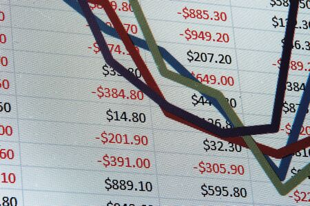 A macro image of a spreadsheet with dollar and a graph Stock Photo - 3934364