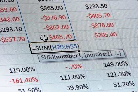stock listing: A macro image of a spreadsheet with dollar and percentages