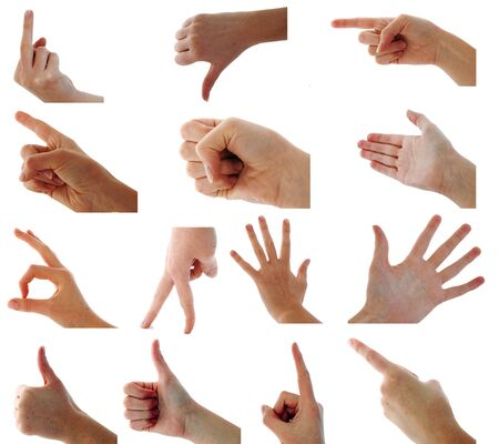 A selection of 14 full-resolution isolated female hand signals Stock Photo - 3934388