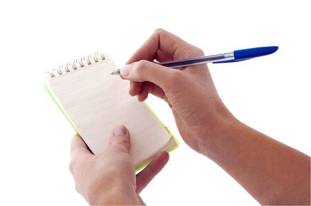 item list: An isolated to White image of a Notepad about to be written on