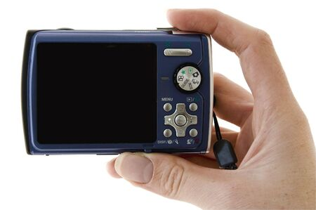 snappy: An isolated to white photo of a digital camera ready to take a photo Stock Photo