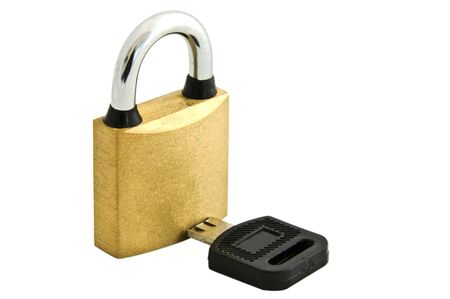 An isolated to white image of a padlock and a broken key Stock Photo - 4007422