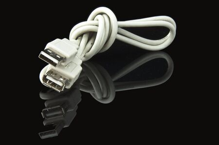 An isolated to black photo of a USB extension cable photo