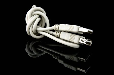 bandwith: An isolated to black photo of a USB Cable Stock Photo