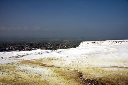 Dirty Travertines at Pamukkale, dirty from abuse from hotels, and tourists photo