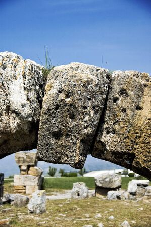 keystone: A keystone of an archway at ruins in Turkey