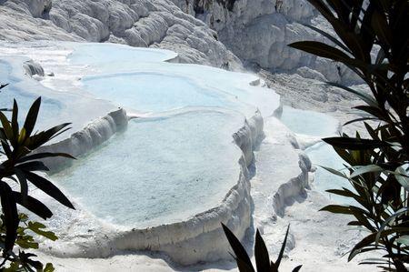 pamukkale: Shallow blue cyan travertine pools at Pamukkale, Turkey Stock Photo