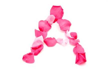 color bougainvillea: A pink letter A over a white background, made from beautiful pink petals