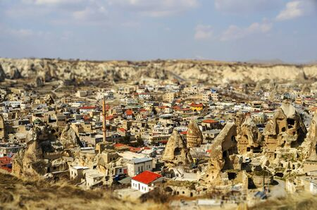 troglodyte: A panoramic photo of Goreme in Cappadocia  toy-town effect  Stock Photo