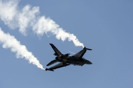 afterburner: the rear of jet during an aerobatic display