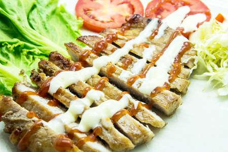 Juicy grilled pork chop  neck cut  photo
