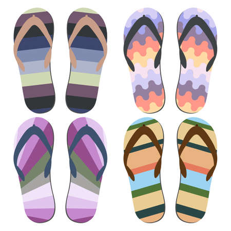 beach slippers: Set of Beach Slippers. Colorful Beach Sandals Over White Background