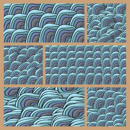 elipse: Seis patrón de garabatos azul con elipse