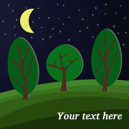 clearing: Three Trees. The Moon Lights on a Clearing in the Forest.