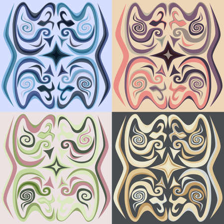calligraphical: Set of Four Decorative ornament. Calligraphical figures. Illustration