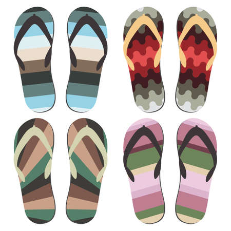 beach slippers: Set of Beach Slippers. Different Styles and Colors of Flip Flops Over White Background Illustration