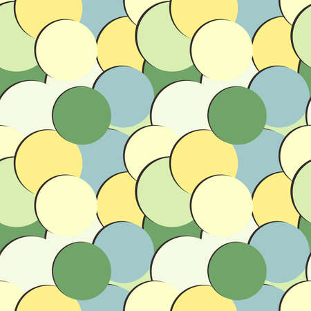 Abstract seamless pattern with colored round painted circles and shadow Illustration