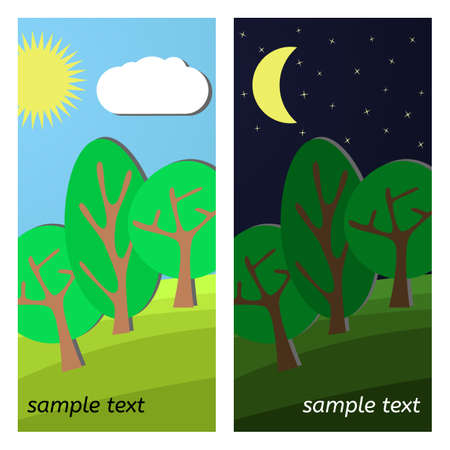 clearing: Three Trees. Day and Night on a Clearing. Illustration